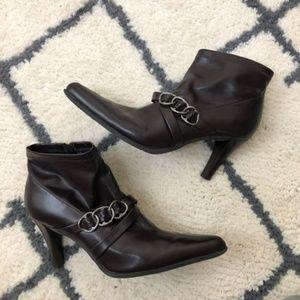 Franco Sarto dark brown heeled buckle boots